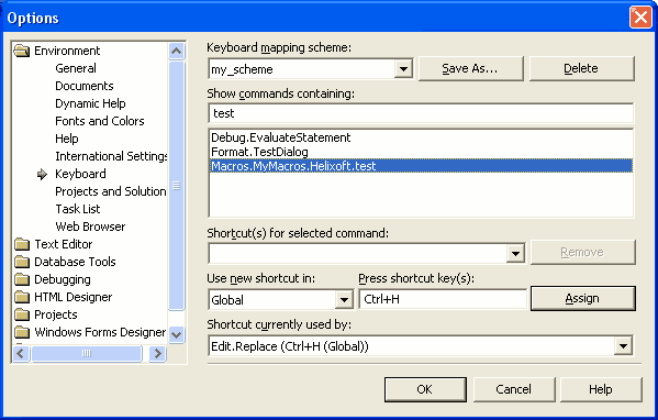 Keyboard options in Visual Studio