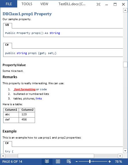 Examples of Documentation Generated by VSdocman